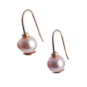 Small Pink Pearl Drop Earrings