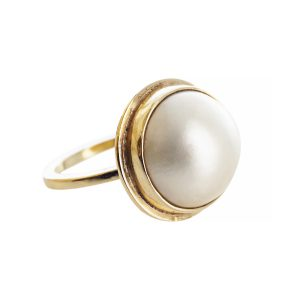 Our bestselling gold and pearl ring from Ardmore Jewellery. 9ct Gold and baroque pearl create this stunning statement ring.